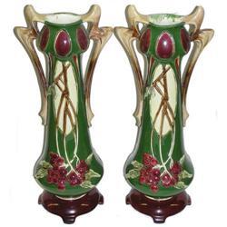 Pair Art Nouveau Faience Majolica Vases #2382019