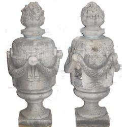 PAIR Antique Classical Limestone Garden Finials#2382022