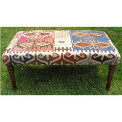 Vintage Bench w Kilims Indian Rug Upholstery #2382028