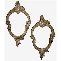 Pair Vintage Rococo Gilded Wall Mirrors  #2382037
