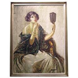 LAJOS MARK Female Portrait Oil Painting #2382044