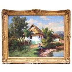 Hungarian SZONTAGH Figural Landscape #2382050