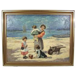 Hungarian JANCSEK Beach Genre Oil Painting #2382054