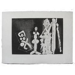 1965 PICASSO dans l' atelier Aquatint #2382066