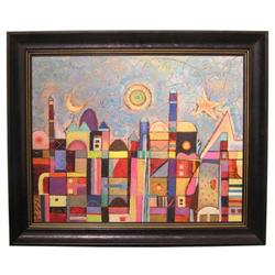 JUDIT BAK Abstract Cityscape Oil Painting  #2382073