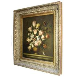 S. LEE Floral Still Life Framed Oil Painting #2382075