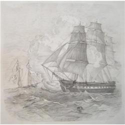 Antique (1882) USS Constitution Seascape #2382088