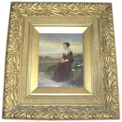 19th c Female Portrait w Ornate Frame #2382089