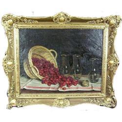 Cherries Cherry Basket Still Life Oil Painting #2382091
