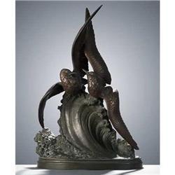 "30"" LECHESNE Seagulls on Wave Sculpture #2382096"