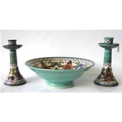 Orel Gouda Ceramic Bowl & Candlesticks #2382110
