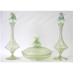 Antique Venetian 3 Pc Perfume Vanity Set #2382116