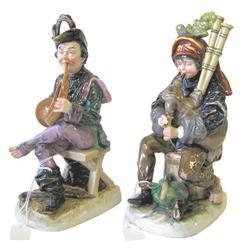 Pair Capodimonte Musician Figurines  #2382118
