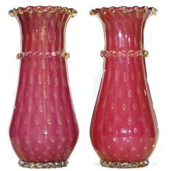 """Pair 12"""" Red & Gold Venetian Glass Vases #2382126"""