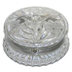 Vintage Round Engraved Glass Jewelry Box #2382130