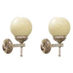 Pair 1940s Deco Chrome Electric Sconces #2382141