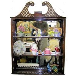 Vintage Mahogany Hanging Curio Cabinet #2382143