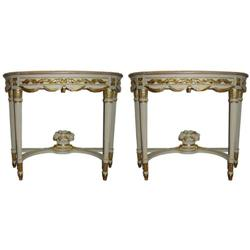 PAIR Louis XVI Marble Top Pier Console Tables #2382151