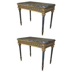 Pair Marble Louis XVI Style Pier Tables #2382152