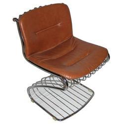 Set 4 GASTONE RINALDI Chrome Leather Dining #2382156