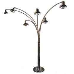 Mid-Century Modern Chrome 6-Light Floor Lamp #2382157