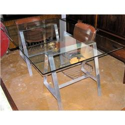 Aluminum Saw Horse Glass Dining Table #2382163
