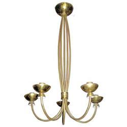 Tall Mid-Century Modern Brass Chandelier #2382173