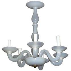 Vintage Opalescent Glass Chandelier #2382175