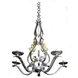 Wrought Iron & Brass Chandelier #2382176