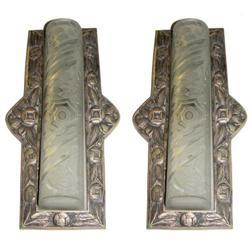 Pair Art Deco Bronze & Schneider Glass Sconces #2382177
