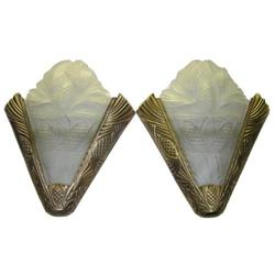 Pair French Art Deco Bronze Sconces #2382178