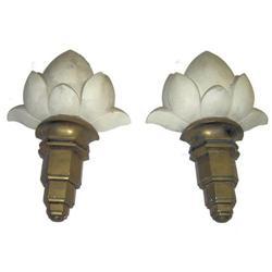 Pair Art Deco Gold & White Plaster Sconces #2382179