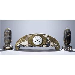 French Art Deco Marble Clock & Obelisque Set #2382190