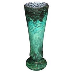 "17"" Daum Mottled Green Glass Vase #2382192"