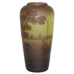 Val St Lambert Lake Scene Cameo Glass Vase #2382194