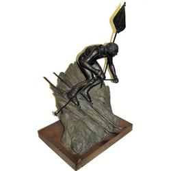 1979 Dan Hill Bronze Skiier Sculpture #2382198