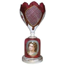 Bohemian Ruby Red Glass Portrait Vase #2382200