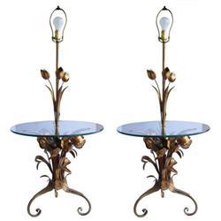 Mid-Century Floral Tole Metal Floor Lamps #2382208