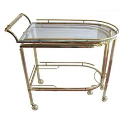 Mid-Century Brass & Glass Bar Serving Cart #2382209