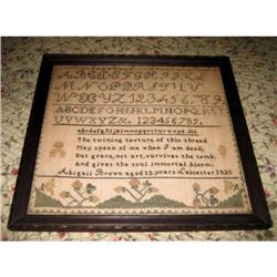 Abigail Brown Sampler 1825 Leicester MA #2382250