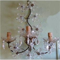 Pair of French Crystal Sconces Wall Lights #2382259
