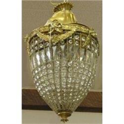 Antique Bead Crystal Chandelier Lantern Fixture#2382260