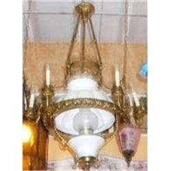 Antique Bronze Chandelier With Glass Shade #2382263