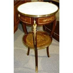 Pair of Inlaid  Marble Top Side Tables End #2382264