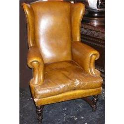 Antique Leather Wing Chair #2382280