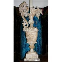 Pair of Antique Figural Alabaster Lamps #2382295