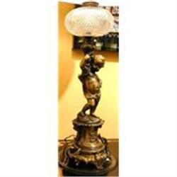Pair of Antique Cherub Lamps #2382298