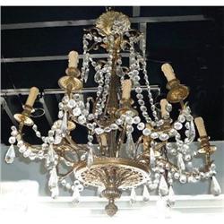 Antique Bronze and Crystal Chandelier Fixture #2382314