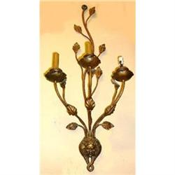 Pair of Iron and Tole Sconces Wal Lights #2382323