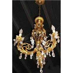 Antique European Bronze and Crystal Chandelier #2382337